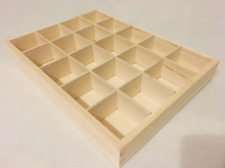 Wooden Tray Box 20 Compartment Display Storage Section Jewellery Keepsake  20-BW