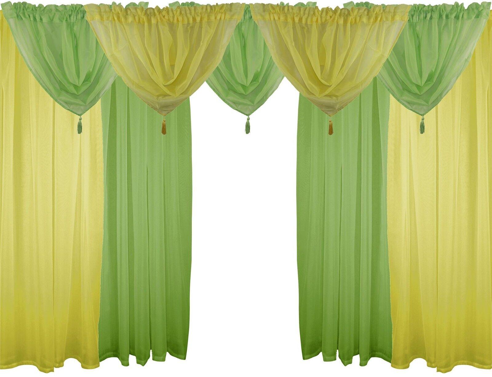Gelb & Grün 9 Teile Voile-Set 122cm 122CM Stab Taschen Gardinen Vorhänge & Beute | Berühmter Laden