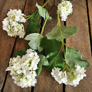 Stem of 4 white artificial snowball hydrangeas viburnum faux silk image is loading stem of 4 white artificial snowball hydrangeas viburnum mightylinksfo