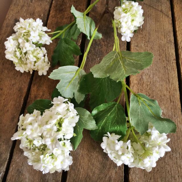 Stem of 4 White Artificial Snowball Hydrangeas Viburnum Faux Silk Wild Flowers