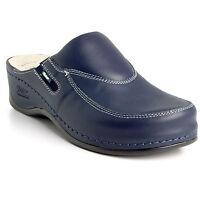 Batz FC10 Blue Ladies Women Leather Slip On Mules Clogs Sandals Size 3.5-7.5 UK