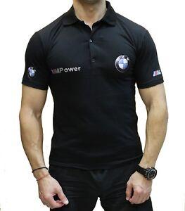 Fait-Main-BMW-M-Power-T-Shirt-Polo-Noir-Logo-Homme-COLLIER-Coton-Peigne-M3-M6-M5