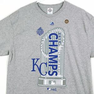 info for 5727a 5631d Details about Kansas City Royals 2015 World Series Champions Champs  Authentic MLB T-Shirt Gray