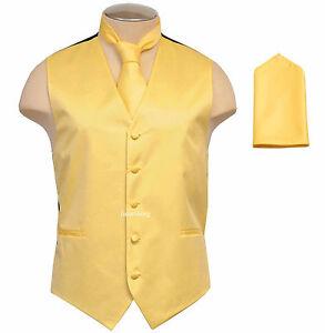 New Brand Q Men's Vest Tuxedo Waistcoat_Necktie & Hankie Set Yellow party prom