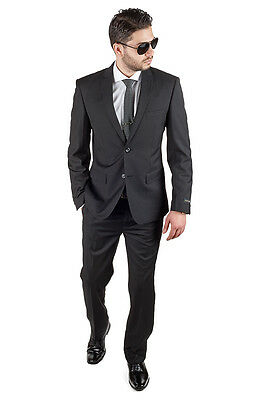 Slim Fit Men Business Suit Plain Basic Black 2 Button Flat Front Pants By AZAR