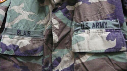US Army Camo Battle Dress Uniform Shirt Woodland Utilisé Original Patch 36TH INFANTRY Grand Long