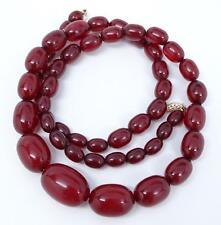 """Antique Art Deco 14K Faturan Cherry Amber Bakelite Bead 28"""" Necklace 54.5 grams"""