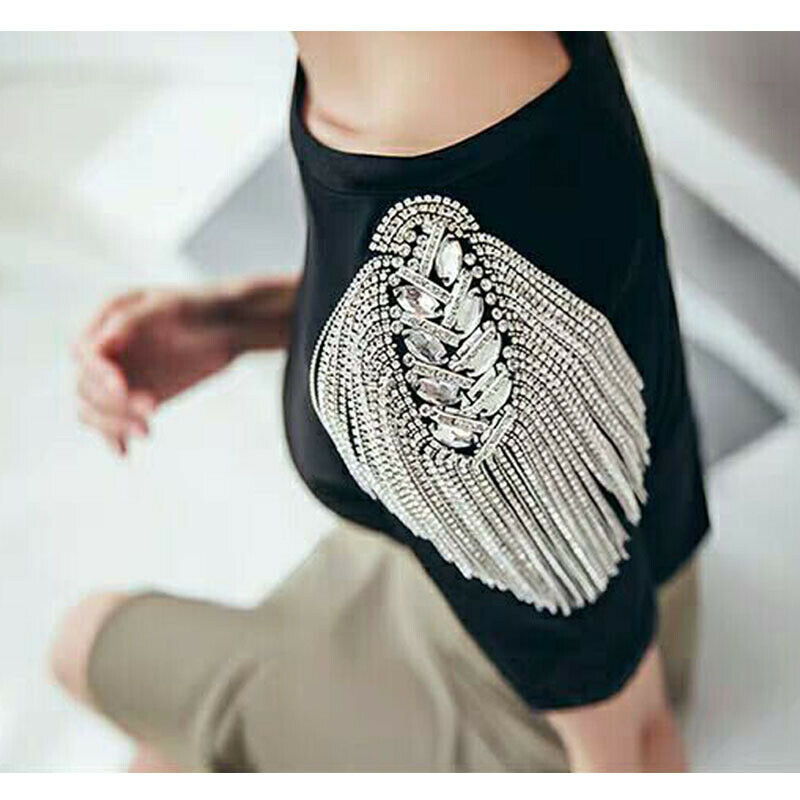 Shoulder Jewelry Fashion Handmade Tassel Rhinestones Clothing Accessories Brooch