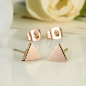 Simple-Smooth-Triangle-Rose-Gold-GP-Surgical-Stainless-Steel-Stud-Earrings-Gift