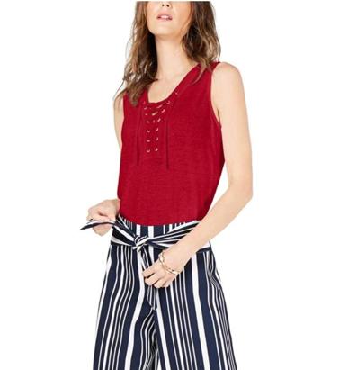 INC 9499 Womens Lace Up Sheer Slub Tank Top Shirt BHFO
