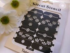 Nail Art Diecut Manicure Stencils Guide Xmas Snowflake Tip Manicure Stickers S21