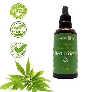 Naturima 100% Cold Pressed Hemp Seed Oil Unrefined Organic 50ml