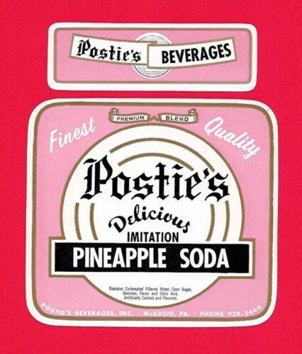 2 Old Postie/'s Pineapple 28oz Soda Label McAdoo Pa