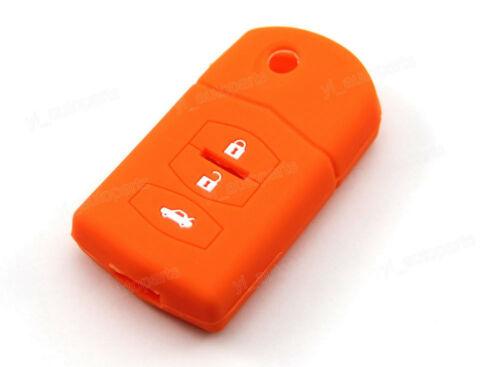 Orange Silicone Remote Case Cover For Mazda 2 3 5 6 RX CX Flip Key 3 Button M3OR