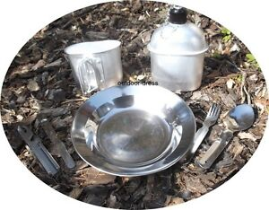 camping set alu feldflasche und becher mit teller und besteck campingeschirr ebay. Black Bedroom Furniture Sets. Home Design Ideas