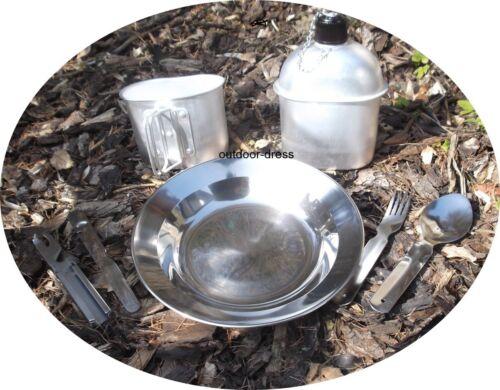 Camping Set Alu Feldflasche und Becher mit Teller und Besteck Campingeschirr