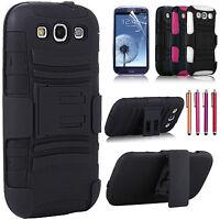 Hybrid Armor Hard Holster Belt Clip Kickstand Case For Samsung Galaxy S3 i9300