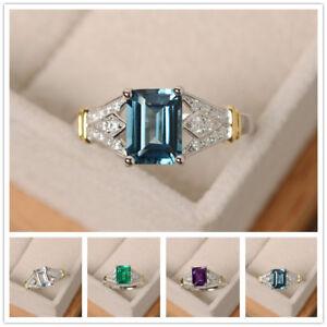 Elegant-Women-925-Silver-Wedding-Rings-Emerald-Cut-Birthstone-Ring-Size-6-10