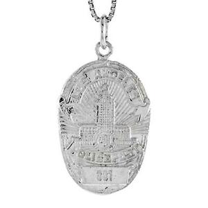 Sterling silver police badge pendant charm 18 italian box image is loading sterling silver police badge pendant charm 18 034 mozeypictures Choice Image