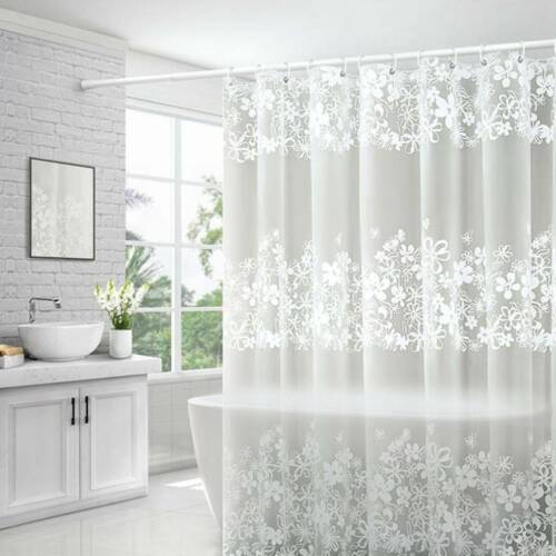Bathroom Shower Curtain White Floral Lace Fabric Liner Clear Waterproof Curtain