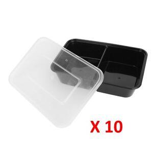 10-PC-a-microonde-2-vano-Plastica-Porta-Pranzo-Cibo-Container-di-immagazzinamento-pasto-PREP