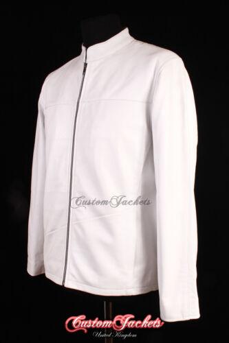 Uomo Semplice Bianco Morbida Pelle di Agnello Vera Pelle Smart Casual Designer Giacca Cappotto
