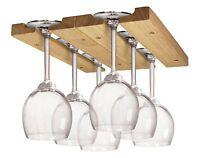 Fox Run Hardwood Wine Glass Under Cabinet Hanger Rack -holder Holds 6-8 Glasses