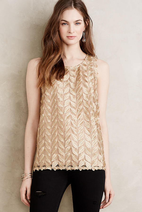 NWT Anthropologie Goldleaf Top by Sunday In Brooklyn, Gold, XSP, Rare & Gorgeous