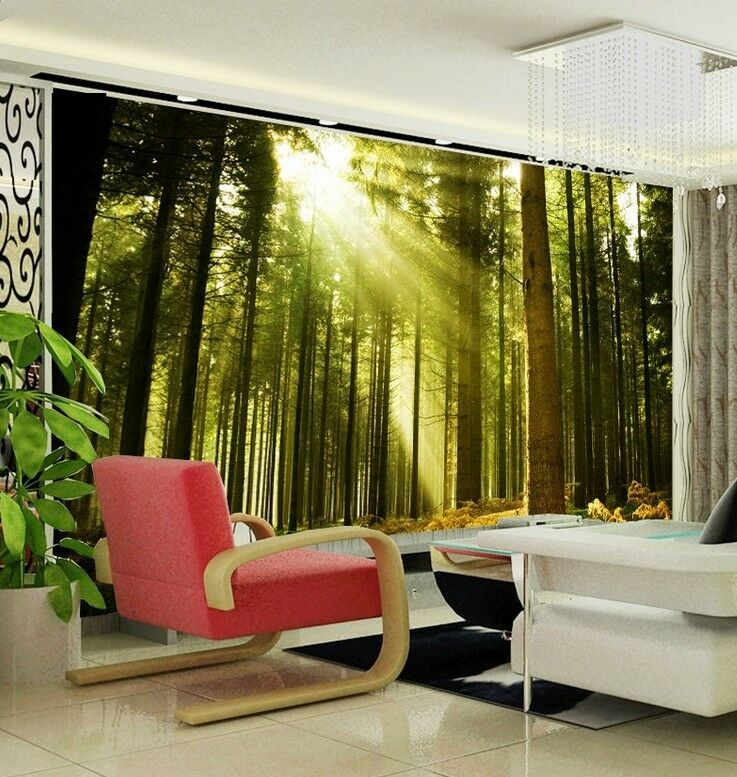 3D Beautiful Forest Light Wall Paper Wall Print Decal Wall Deco Indoor wall Home
