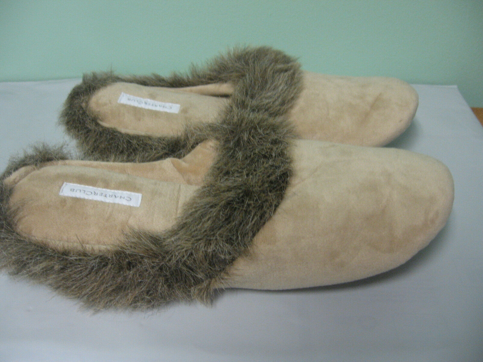 NEW Charter Club Faux Fur Fur Faux Soft Beige Scuff Slippers S 5 - 6 50113c