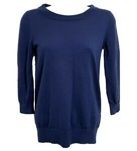 J-crew-Merino-Wool-Sweater-Blue-Women-s-Navy-3-4-Sleeve-Sz-XS