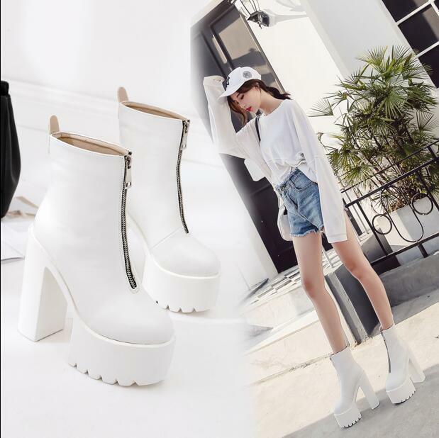 Womens Chunky High Heels Platform Front Zipper Warm Punk shoes Ankle Boots mgic