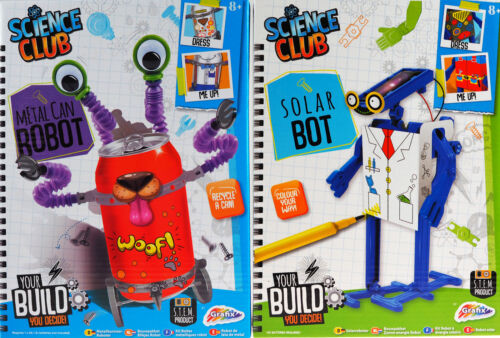 Build Your Own Metal Can Robot Solar Bot Childs Gift Set Of 2 Science Kits