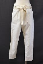 NWT$1075 Brunello Cucinelli Women Linen-Cotton Striped Belted Dress Pants 42/6US