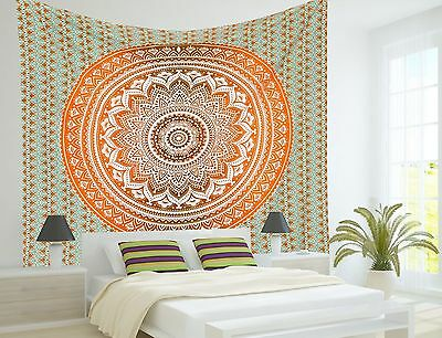 Indian Wall Hanging Hippie Ombre Mandala Tapestry Twin Bedspread Ethnic Decor