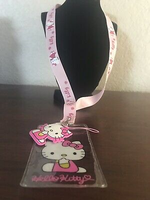 Rare Hello Kitty Lanyard with Name Badge /& Hello Kitty Charm W//Tracking