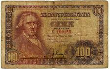 BILLETE DE 100 PESETAS DE 1948 (RC) BAYEU (SERIE F) ROTURA LEVE EN EL CENTRO