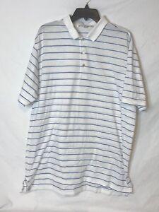 Peter-Millar-Men-039-s-Size-XL-White-W-Blue-Stripes-Short-Sleeve-Golf-Polo-Shirt