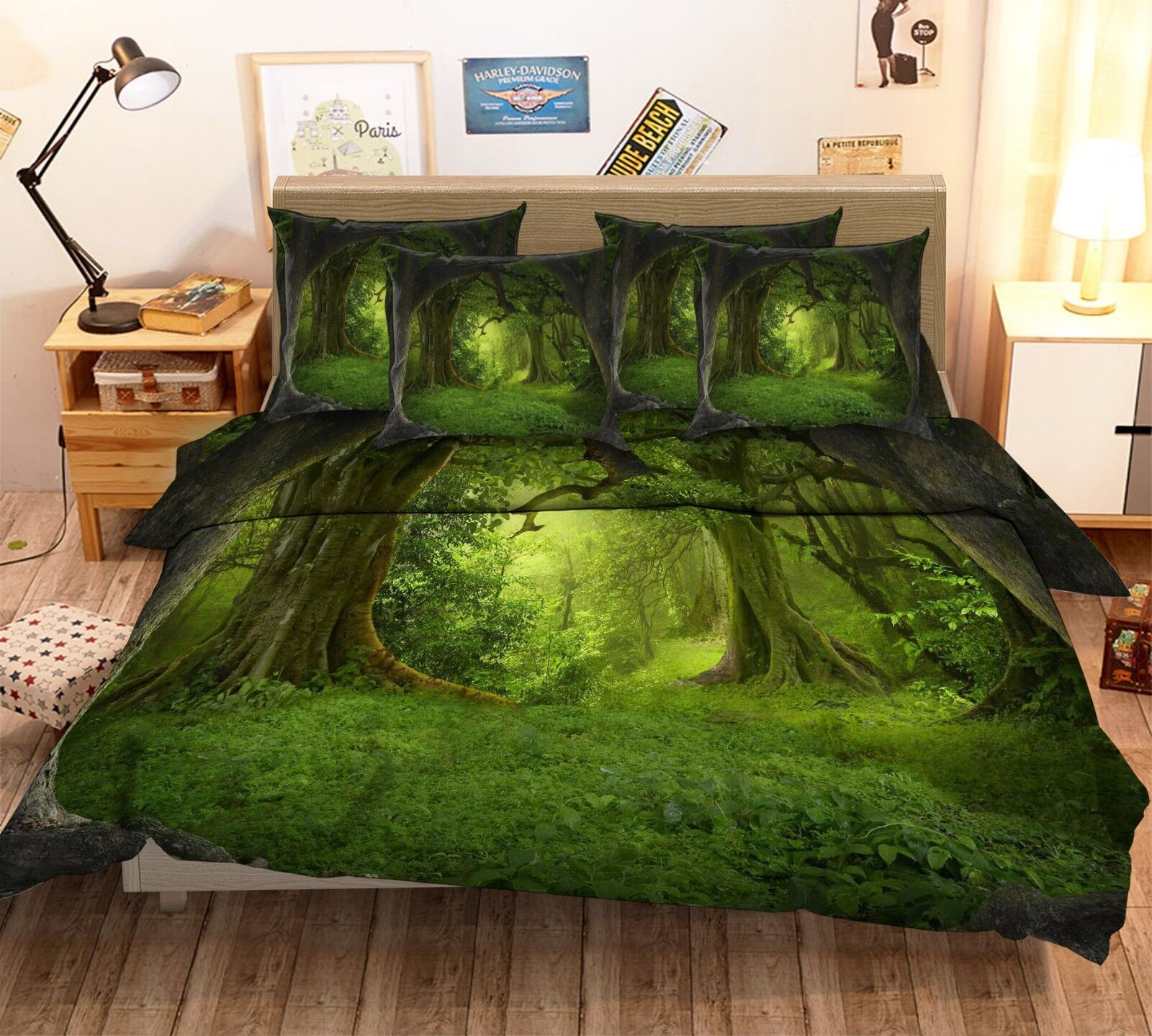 3D Jungle Meadow 78 Bed Pillowcases Quilt Duvet Cover Set Single King UK Lemon