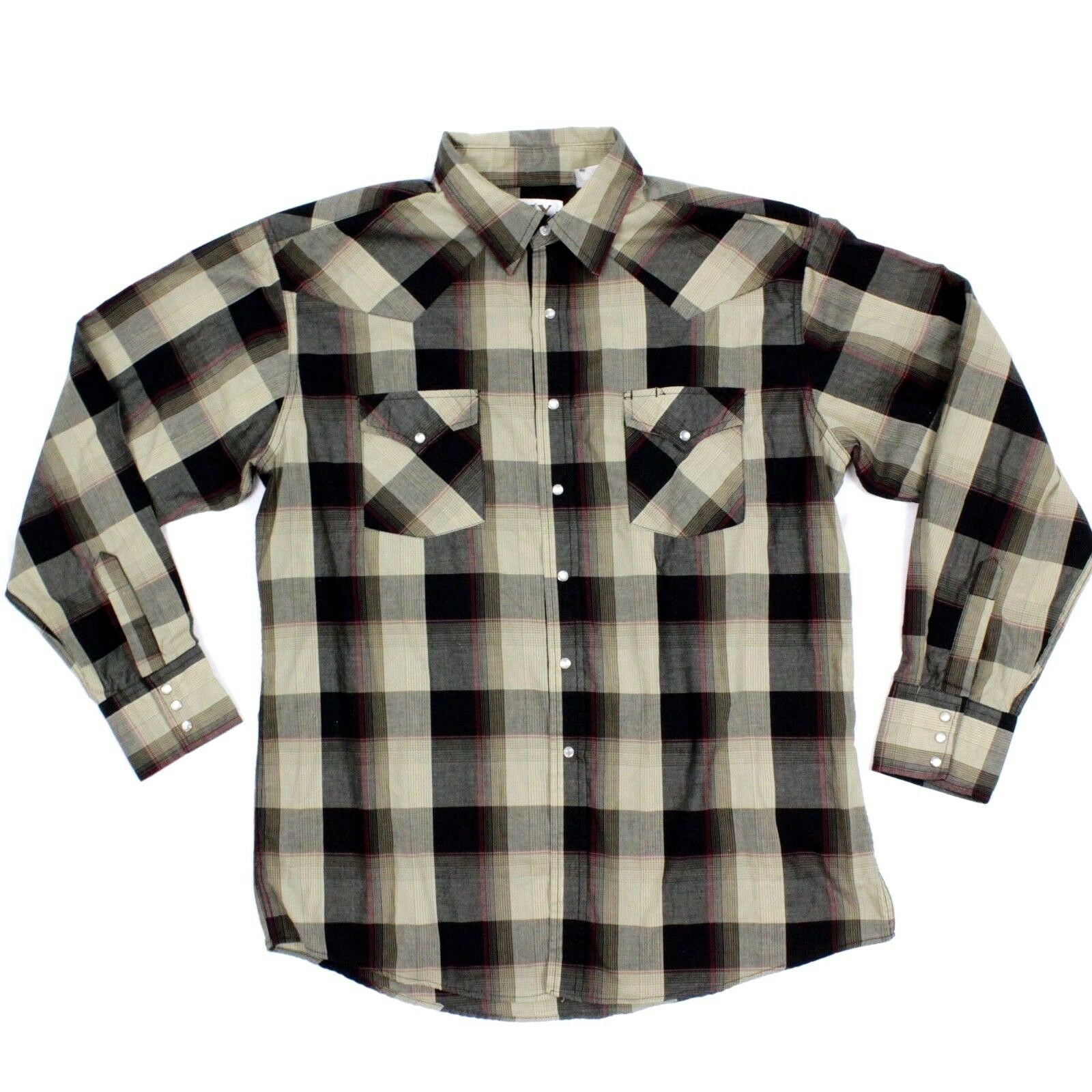Vintage Ely Cattle Western Snap Button Shirt Plaid Longsleeve Embellished Cowboy