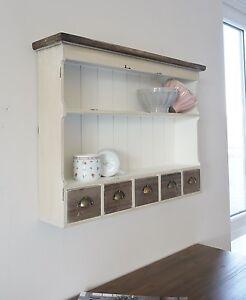wandregal k chenregal old cottage mit 5 schubladen shabby chic landhausstil ebay. Black Bedroom Furniture Sets. Home Design Ideas