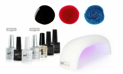 Gellaka PRO Matte or Shine Gel Nail Kit Night Fall 3 color