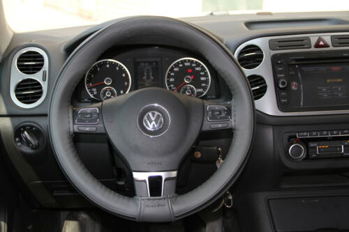 Stitch On Steering Wheel Skin Wrap Cover Grey w// Strip Style w// Needle /& Thread