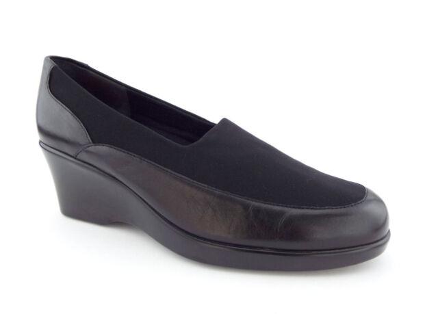 C Wide KAYLA Black Walking Wedges Slip