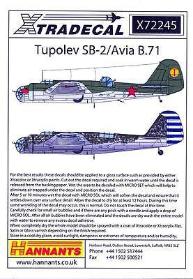 Xtra Decals 1/72 TUPOLEV SB-2 & AVIA B.71 World War II Bomber