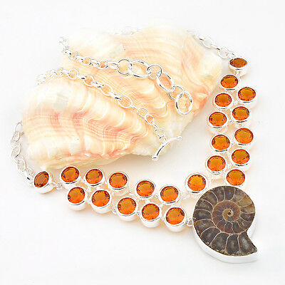 Gorgeous Holiday Natural Ammonite Fossil Brazil Citrine Silver Charming Necklace