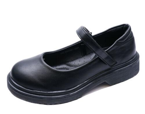 GIRLS SLIP-ON FLAT BLACK SCHOOL STRAP COMFY JUNIOR CHILDRENS SHOES SIZES 10-3