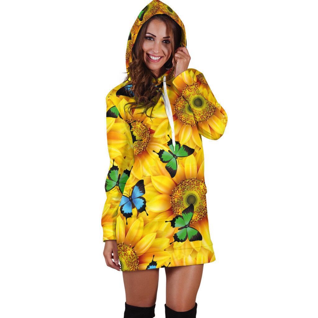 Sunflowers & Butterflies Hoodie Dress For Women, Sunflower Butterfly Butterfly Butterfly Gift 3c6cae