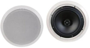 NEW-2-8-034-Ceiling-In-wall-Stereo-Speakers-Pair-8-ohm-Flush-mount-10-75-034-Frame