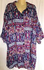 BOP Tops 6X Purple Tribal print short sleeve button down shirt Excellent conditi